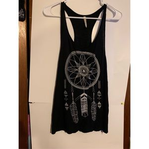 Women's black racer back dream catcher tank top
